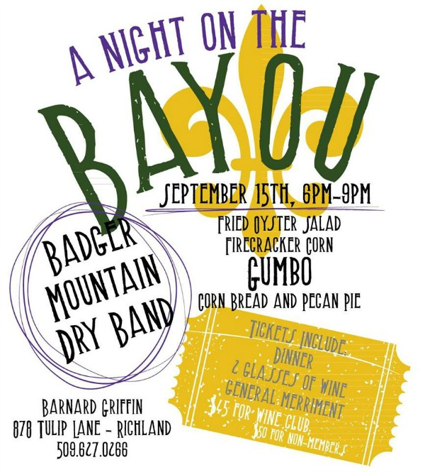 A Night on the Bayou at Barnard Griffin: An All Around Wonderful Evening with Music, Food and Wine | Richland, WA