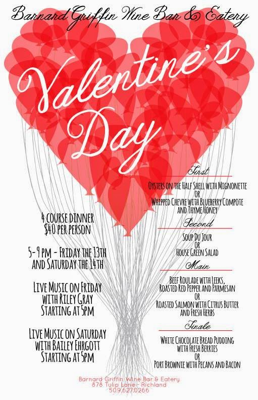 Valentine's Day Sweetheart Dinner At Barnard Griffin Richland, Washington