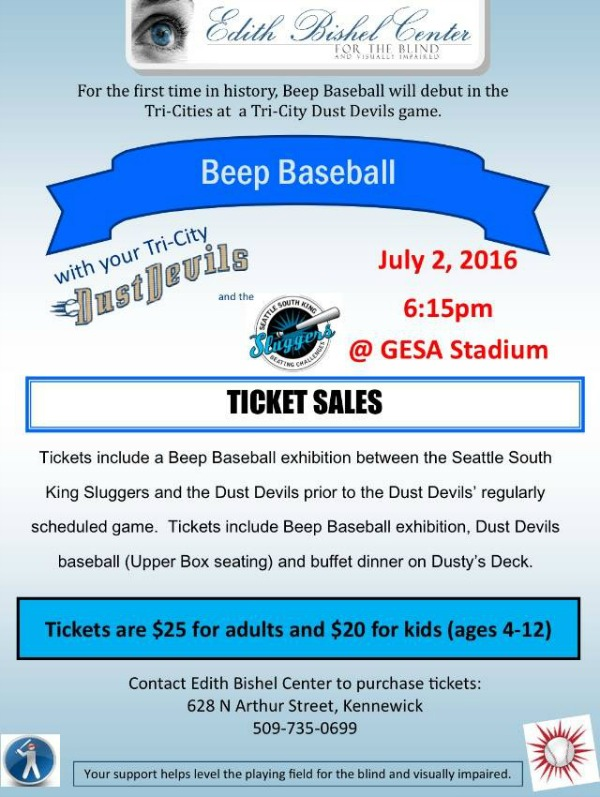 'Edith Bishel Center for the Blind and Visually Impaired' Presents Beep Baseball: Seattle South King Sluggers vs TriCity Dust Devils | Pasco, WA