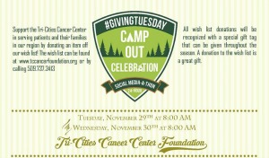 Tri-Cities Cancer Center Presents Giving Tuesday: Camp Out Celebration | Social Media-A-Thon in Kennewick