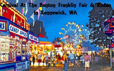 Carnival At The Benton Franklin Fair & Rodeo In Kennewick, Washington