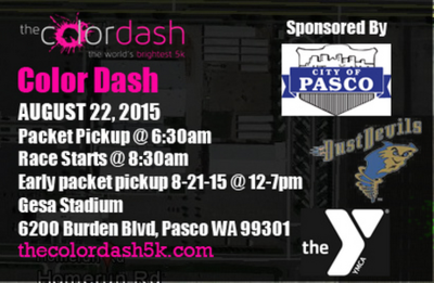 The Color Dash 5k Fun Run/Walk At Gesa Stadium In Pasco, Washington