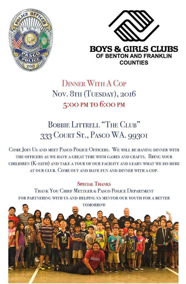Boys and Girls Clubs of Benton and Franklin Counties and Pasco Washington Police Present 'Dinner With A Cop'