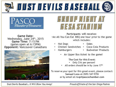 Tri-City Dust Devils Baseball Vs. Salem-Keizer Volcanoes Pasco, WA