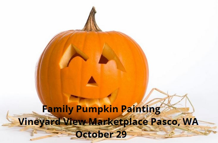 Family Pumpkin Painting At Vineyard View Marketplace Pasco, Washington