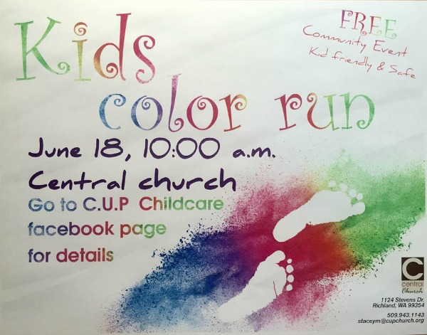 Kids Color Run Hosted by C.U.P Childcare and Central's Christian Childcare: A Kaleidoscopic Children's Affair | Richland, WA