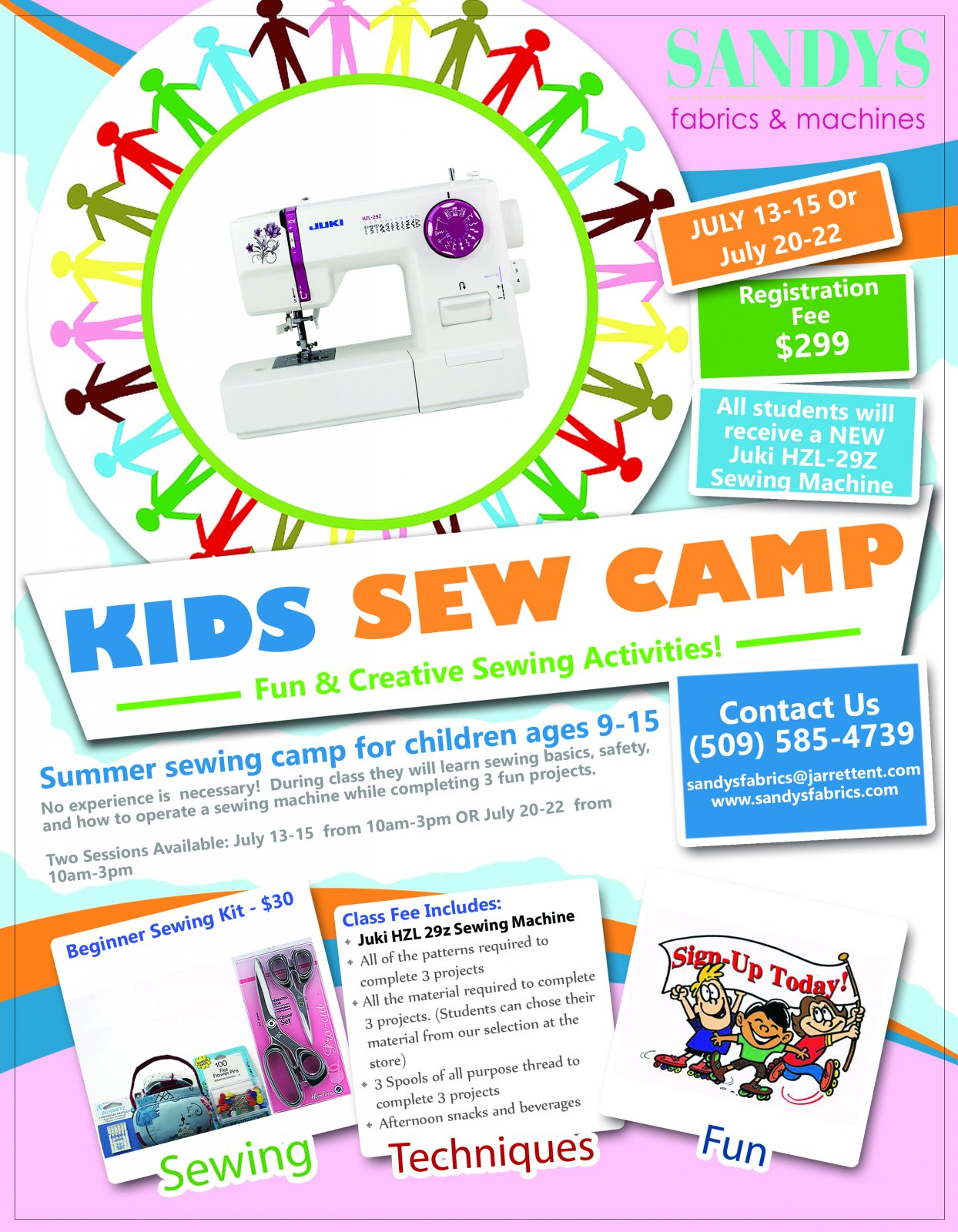 Kids Sew Camp At Sandy's Fabrics & Machines In Kennewick, Washington