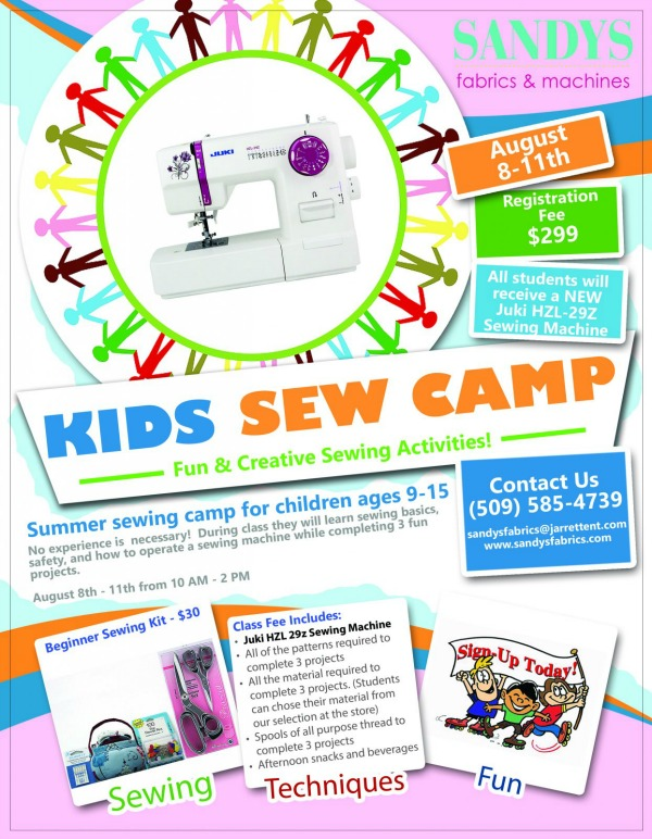 Kids Sew Camp at Sandys Fabrics and Machines: Fun and Creative Sewing Activities | Kennewick