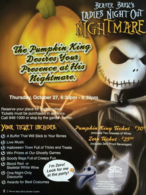 Ladies Night Out Nightmare: Celebrate Halloween with Fun, Food and Entertainment | Beaver Bar Gift and Garden Center in Richland, WA