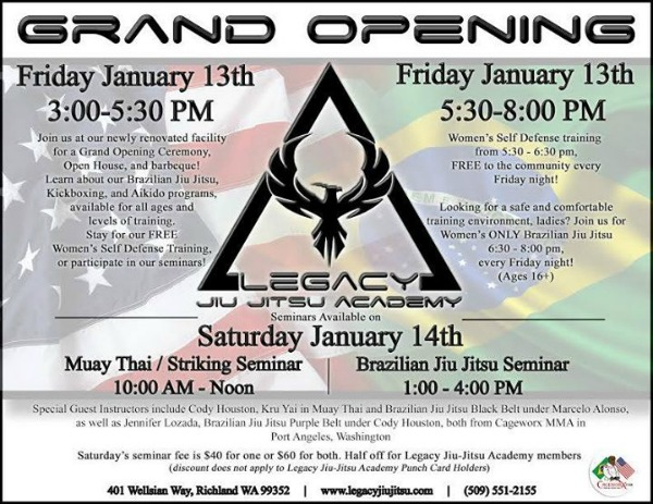 Legacy Jiu-Jitsu Grand Opening Weekend: New Facilities to Learn Jiu-Jitsu, Aikido and Kickboxing | Richland WA