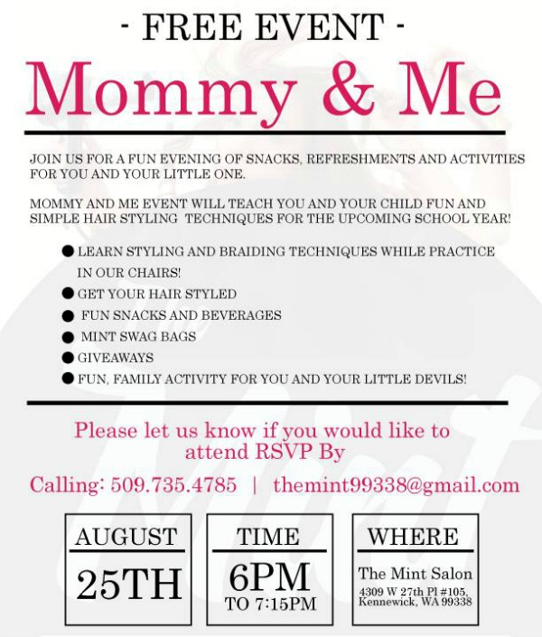 Mommy & Me Free Event: Learn Hairstyling Techniques From the Pro | The Mint Salon in Kennewick
