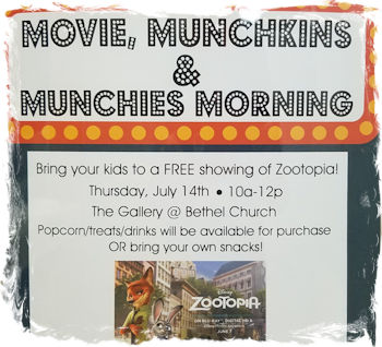 Movie, Munchkins & Munchies Morning at Bethel Church's Richland Campus