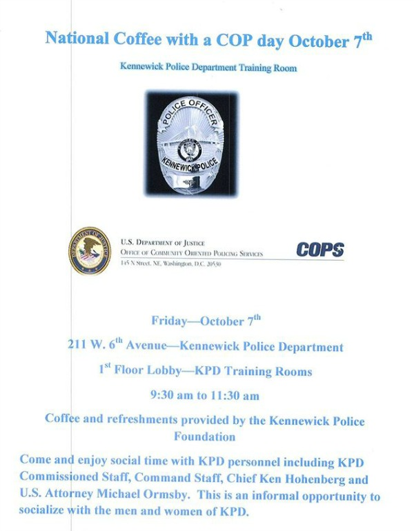 National Coffee with a COP Day: Talk Security and Safety with the Officers | Hosted by the Kennewick Washington Police Department