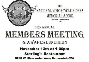 National Motorcycle Rider's Memorial Association 3rd Annual Members Meeting and Awards Luncheon | Kennewick