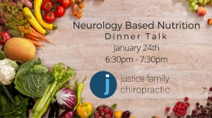 Justice Family Chiropractic Presents Neurology Based Nutrition - Dinner Talk | The Right Food for Complete Body & Mind Wellness in Kennewick - Jan. 24