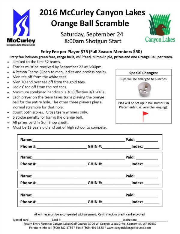2016 McCurley Canyon Lakes Orange Ball Scramble in Kennewick, WA