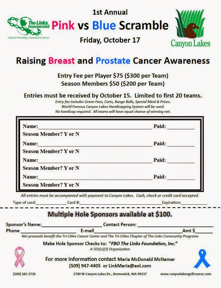 Pink Vs. Blue Cancer Awareness Charity Golf Tournament Kennewick Washington