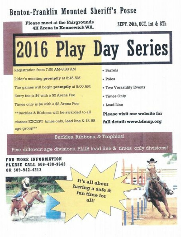 2016 Benton-Franklin Mounted Sheriff's Play Day Series: Fun and Safe Event for Individuals of All Ages | Kennewick, WA