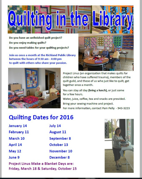 Quilting in the Library with Project Linus and Quilt-Making Hobbyists | Richland, WA Public Library