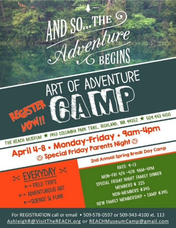 Spring Break Camp: Art of Adventure - A Highly Memorable Camping Experience at Hanford Reach Interpretative Center in Richland, WA