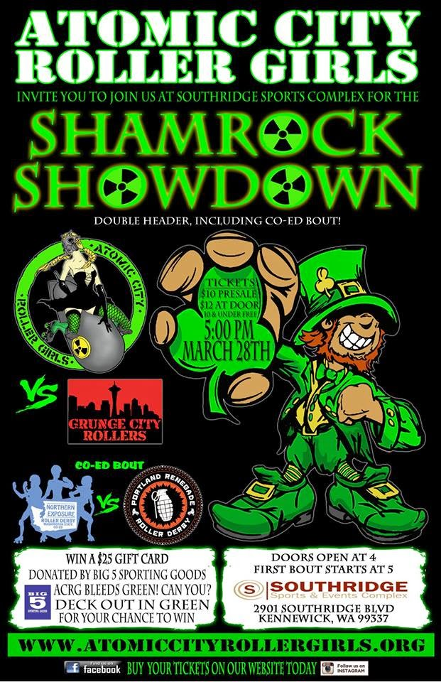 Atomic City Roller Girls Shamrock Showdown In Kennewick, Washington