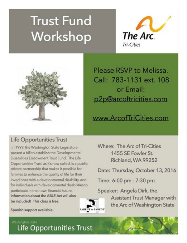 Special Needs Trust Fund Workshop Hosted by Parent to Parent, The Arc of Tri-Cities | Richland, WA