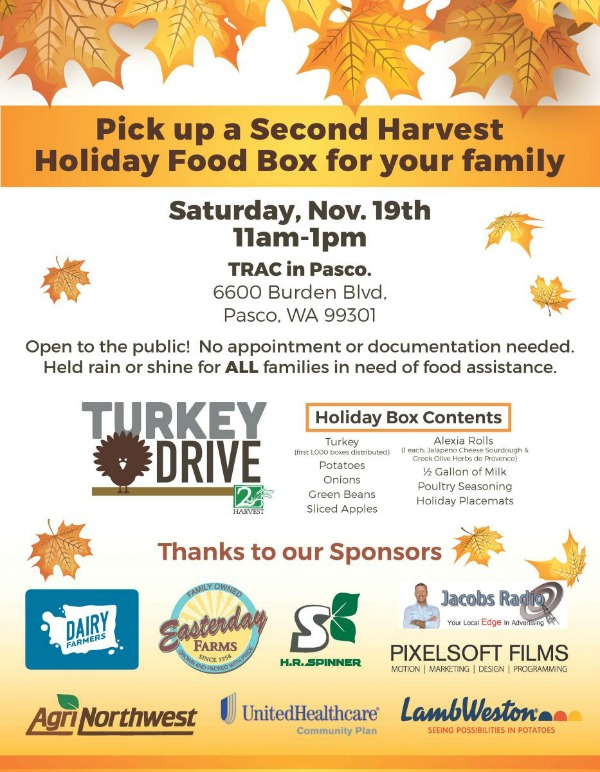 2nd Harvest Turkey Drive: Holiday Food Box Distribution for Families in Need at TRAC Center | Pasco, WA