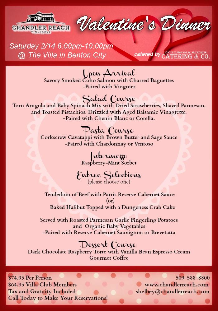Valentine's Dinner At The Villa, Chandler Reach Winery Benton City, Washington