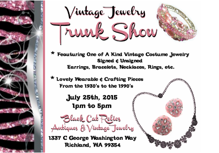 Vintage Jewelry Trunk Show At Black Cat Relics In Richland, Washington