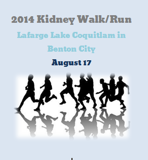 2014 Kidney Walk/Run At Lafarge Lake Coquitlam in Benton City