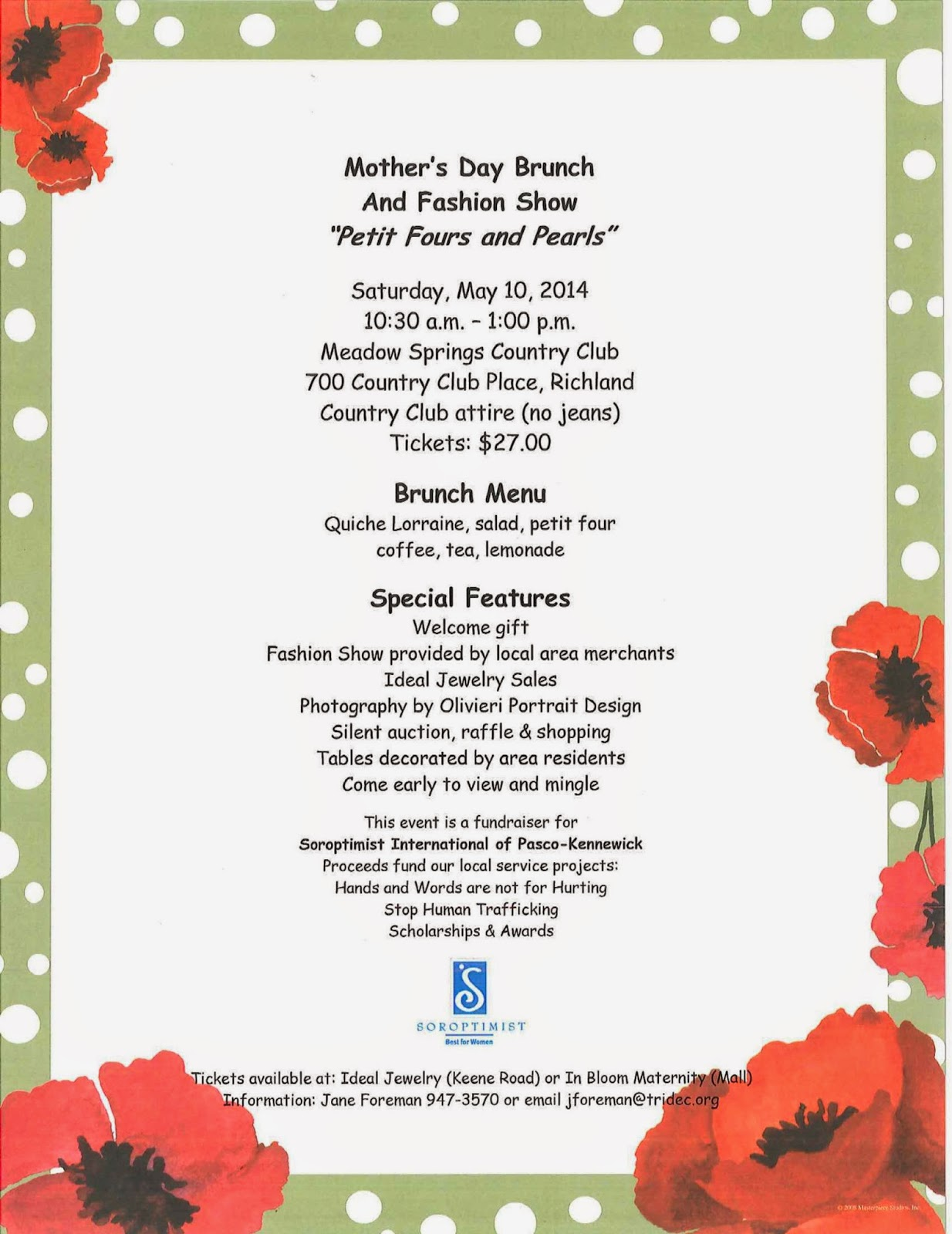 Richland, Washington, Mother's Day, Event, Fund Raiser, Mother, Brunch, Fashion Show, Soroptimist International of Pasco-Kennewick, Petit Fours and Pearls